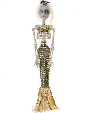 Creepy Gold Sequinned Mermaid Skeleton Halloween Decoration