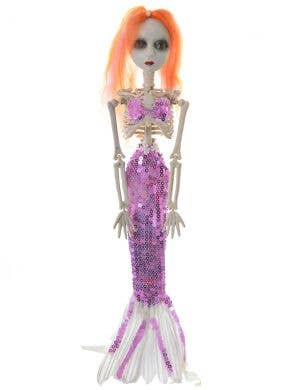 Creepy Purple Sequinned Mermaid Skeleton Halloween Decoration