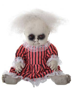 Evil Baby Girl Doll with Light Up Eye's 30cm Halloween Decoration - Red and Black