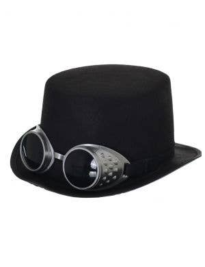 Steampunk Black Feltex Top Hat with Goggles