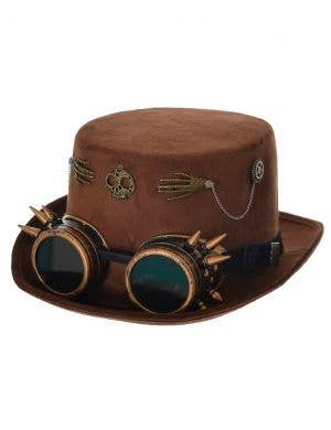 Steampunk Brown Faux Suede Top Hat with Goggles