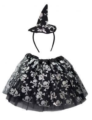 Witch Girl's Skull Tutu and Headband Halloween Set