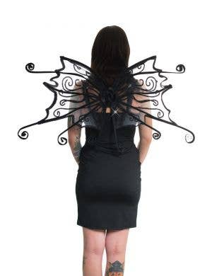 Curled Black Glitter Wings Costume Accessory