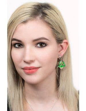 Flashing Light Up Novelty Christmas Tree Earrings