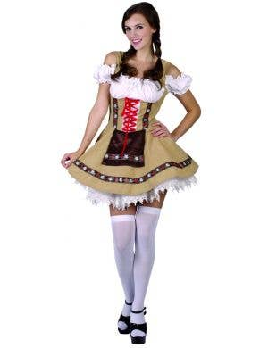 Beer Girl Women's Green And Brown Oktoberfest German Fancy Dress Costume Main Image