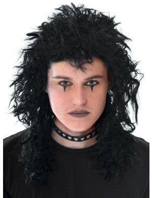Punk Rocker Men's Black Crimped Mullet Costume Wig