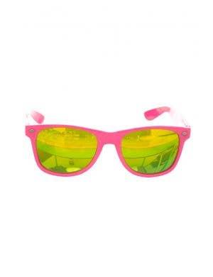 Neon Blue Retro 80's Australia Day Sunglasses Shades With Mirrored Lenses Costume Accessory Main Image
