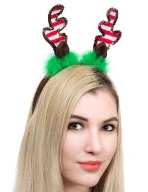 Knitted Reindeer Ears on Headband Main Image