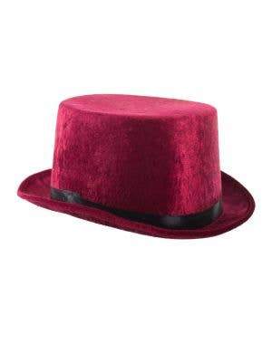 Crushed Velvet Burgundy Maroon Top Hat for Adults Main Image