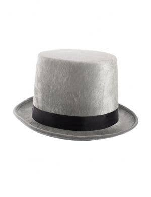 Silver Grey Crushed Velvet Tall Top Hat Costume Accessory