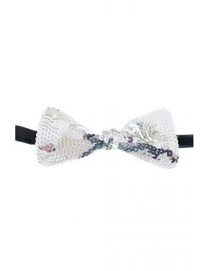 Large Silver Stiffened Sequined Bow Tie On Elastic Costume Accessory View 1