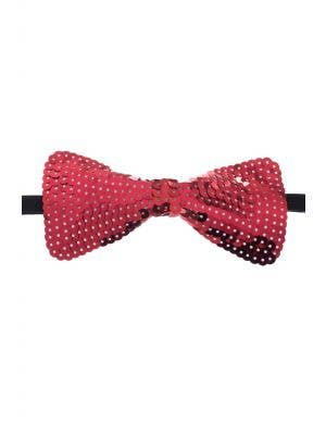 Large Red Stiffened Sequined Bow Tie On Elastic Costume Accessory View 1