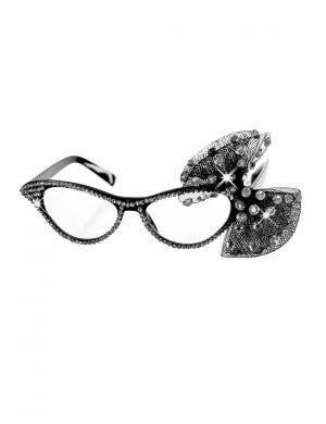White Rhinestone Dame Edna Novelty Costume Glasses