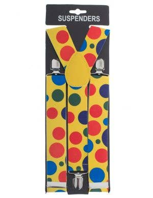 Yellow Spotted Clown Suspender Braces Circus Costume Accessory