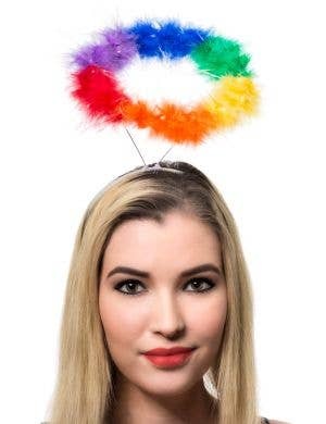 Rainbow Feathers Halo on a Headband Mardi Gras Costume Accessory