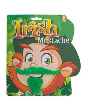 Green Fluffy Leprechaun Fake Moustache And Goatee Costume Accessory