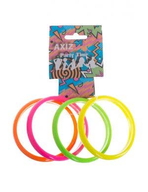 Set Of 4 Neon Coloured 1980's Bangles Costume Accessory