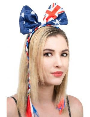 Australian Flag Bow Headband With Red, White And Blue Plaits Accessory