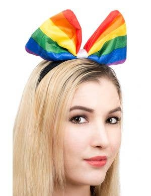Large Rainbow Bow on Headband Costume Accessory Main Image
