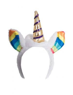 White Plush and Gold Satin Unicorn Headband Main Image