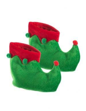 Kids Red and Green Velvet Elf Christmas Shoes