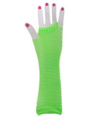 Fingerless Neon Green Fishnet Gloves 80's Costume Accessory Image 1