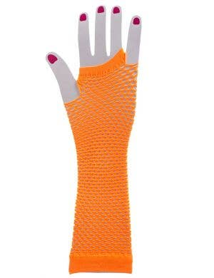 Women's Orange Fishnet Fingerless Costume Gloves Image 1