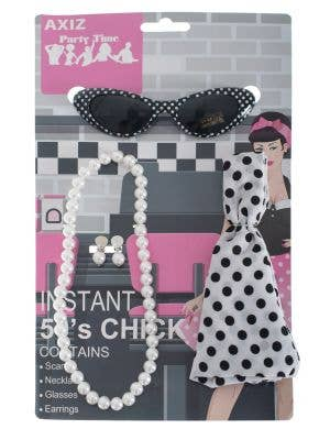 Retro 1950's Polka Dot Rockabilly Costume Accessory Set