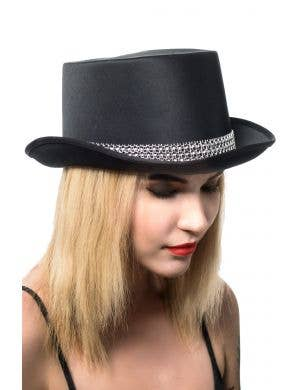 Black Satin Cabaret Top Hat with Rhinestones Costume Accessory