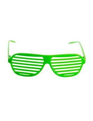 Bright Green Shutter Shades Glasses Fancy Dress Accessory Main Image