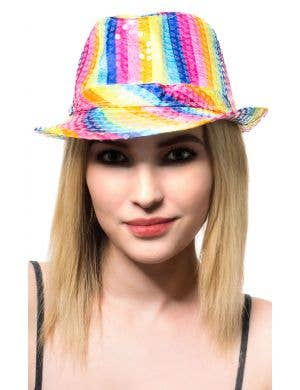 Rainbow Fedora Satin Hat Costume Accessory Main Image