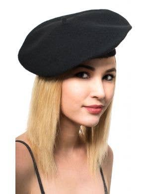 Black French Beret Costume Hat Main Image