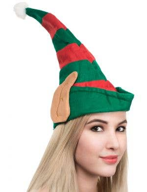 Striped Red and Green Elf Hat with Ears Main Image