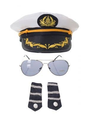 Navy Officer's White Sailor Costume Accessory Kit
