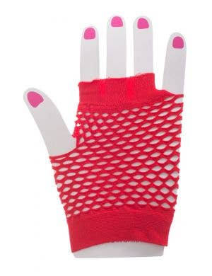 Red Fishnet Fingerless Gloves Costume Accessory Image 1