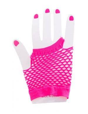 Fingerless Short Neon Pink Fishnet Gloves Costume Accessory Image 1