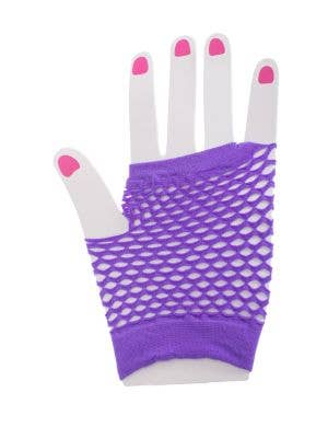 Neon Purple Fishnet Gloves 80s Costume Accessory Main Image