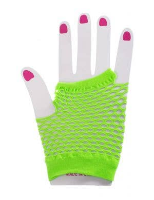 Neon Green Short Fingerless Fishnet 80's Costume Gloves Main Image