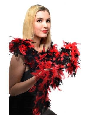 Red and Black Two Toned Feather Boa Sexy Costume Accessory Main Image