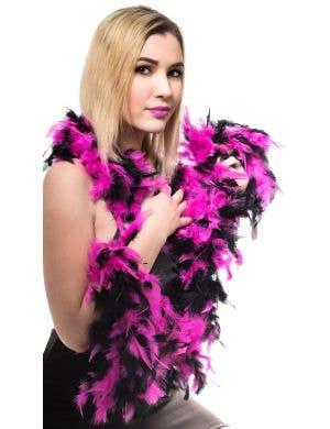 Fuchsia and Black Feather Boa Costume Accessory Main Image