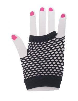 Black Fingerless Fishnet Gloves Accessory main image