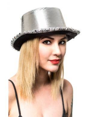 443a9be6b75 Metallic Silver Adult s Cabaret Top Hat with Sequins