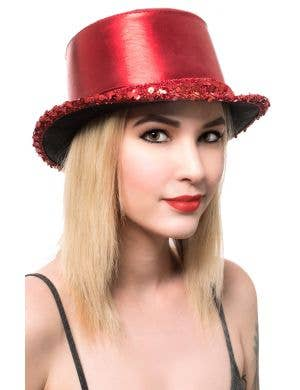 Metallic Red Adult's Cabaret Top Hat with Sequins