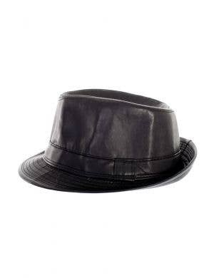 Faux Black Leather Adult's Gangster Fedora Hat Costume Accessory