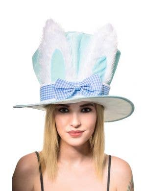 Plush Blue Easter Bunny Top Hat Costume Accessory Image 1