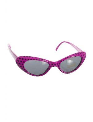 1950's Retro Dark Pink Pink And Black Polka Dot Costume Sunglasses