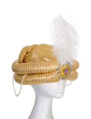 Gold Striped Arabian Prince Genie Turban Costume Hat With White Feather Main Image