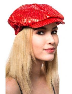 Red Sequined 70's Retro Costume Cap Main Image