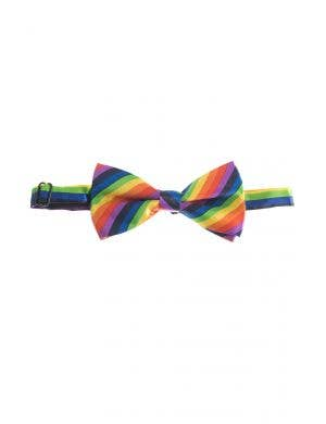 Satin Rainbow Adjustable Bow Tie Costume Accessory