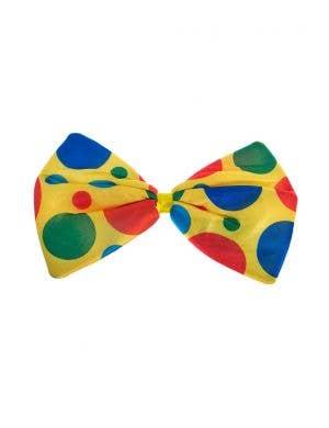 Yellow Jumbo Polka Dot Clown Bow Tie On Elastic Costume Accessory